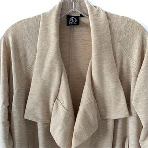 bobeau Sweaters - BOBEAU CARDIGAN POINTED COLLAR TAN COLOR